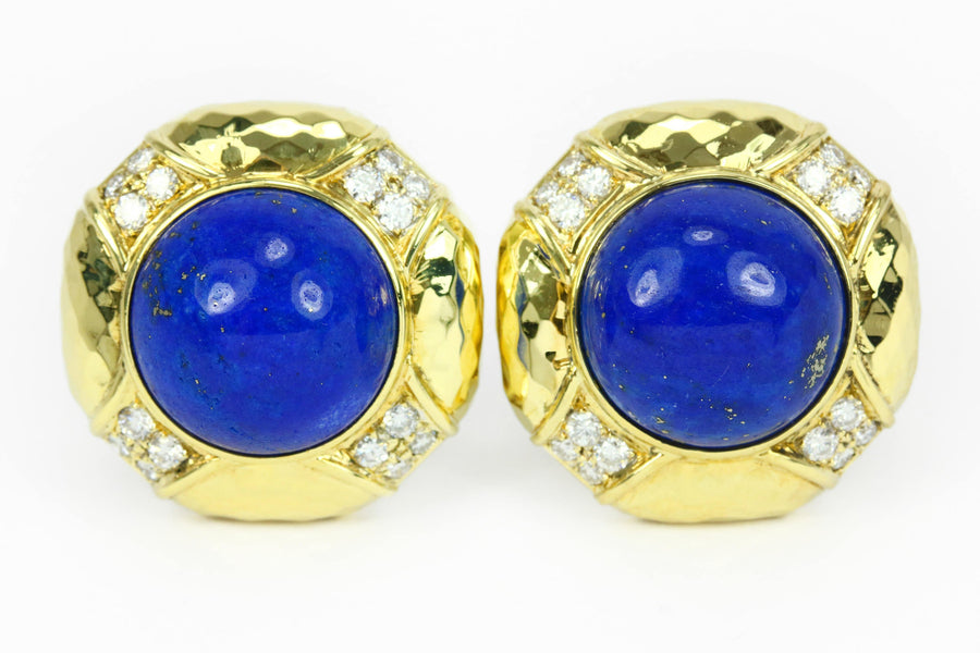 Blue Lapis Lazuli Diamond & Gold Clip on Earrings 18k, Clip on Earrings, Blue Lapis Clip on Earrings, Diamond Clip on Earrings, Natural Gems