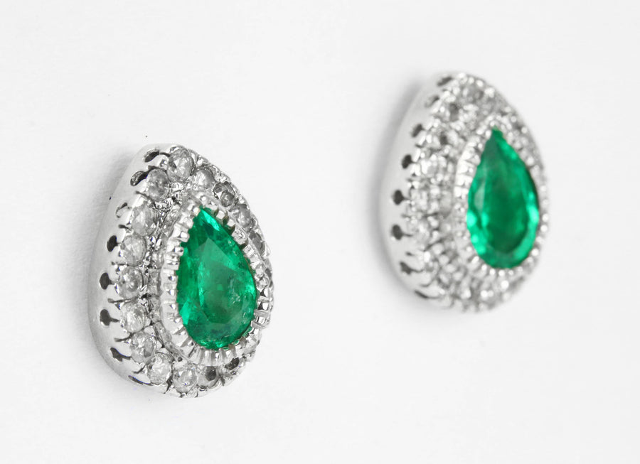 3.10tcw Emerald & Diamond Studs 14k, Emerald Diamond Halo Earrings, Emerald Pear Studs, May Birthstone Earrings, Emerald Studs, Pear Studs