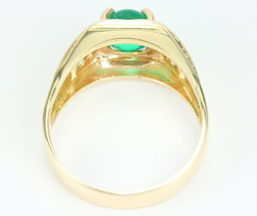 2.18 Carat Cabochon Oval Colombian Emerald Mens Ring, Gold Natural Emerald Mens Ring, Emerald Men Jewelry, Emerald Gold Band Yellow Gold 14K
