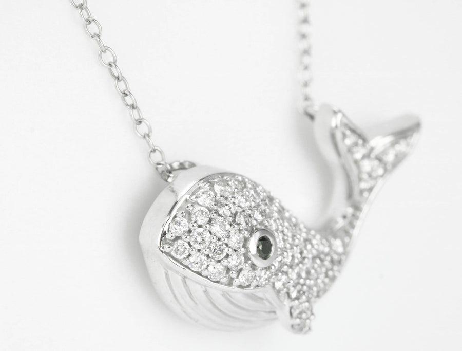 0.50tcw Nautical Diamond & Sapphire Eye Whale Necklace 14K