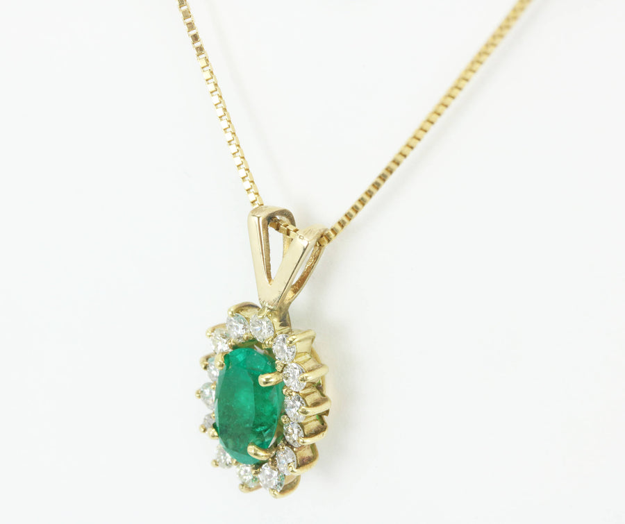 1.70tcw Colombian Emerald & Diamond Cluster Pendant 14k, French Halo Emerald Necklace, Diamond Halo Pendant, Natural Emerald Pendant 14K
