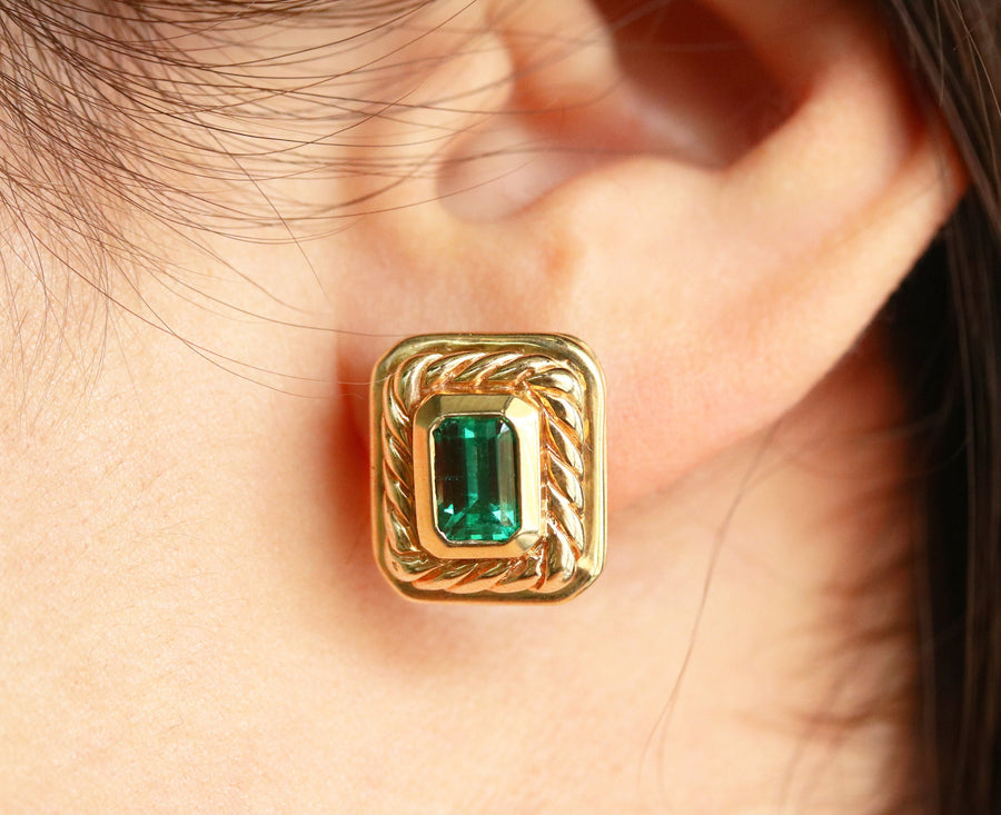 2.85tcw AAA+ Top Quality Colombian Emeralds Studs, Emerald Earrings, Emerald Studs, Gold Studs, Natural Emerald Earrings, Women's Earrings
