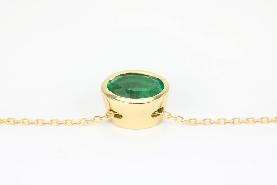 1.30 Carat Gold Oval Emerald Necklace, May Birthstone Necklace, Natural Colombian Emerald Necklace, Emerald Pendant, Yellow Gold 14K