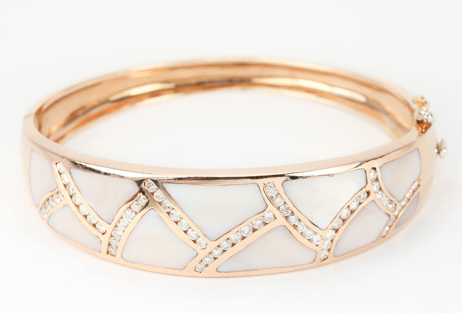 Mother of Pearl & Diamond Rose Gold Bangle 14K, Rose Gold Bangle Bracelet, MOP Diamond Bracelet, Rose Gold Mother Of Pearl Bracelet