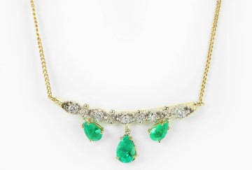 6.70tcw Bib Vintage Emerald Necklace, Pear Emerald Diamond Necklace, Fine Emerald And Diamond Gold Pendant, Emerald Gift, Yellow Gold 14K