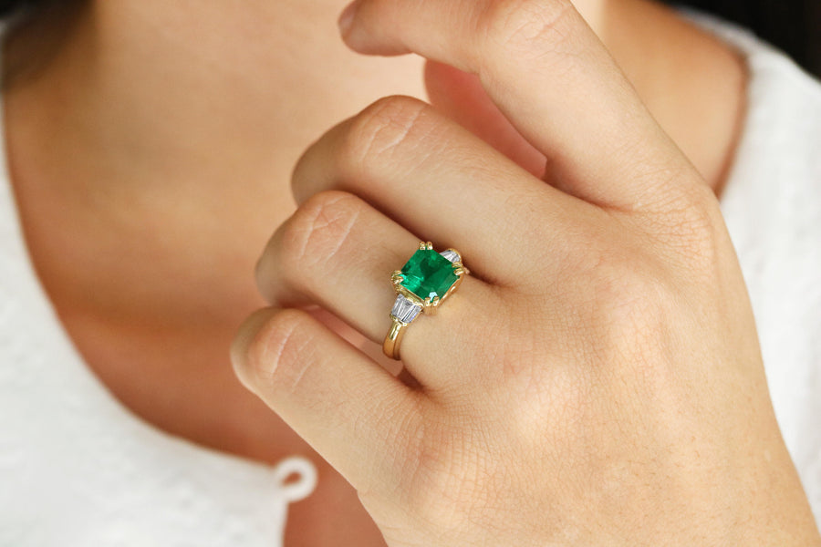 3.12tcw Asscher Cut Emerald & Diamond Accent Ring 18K