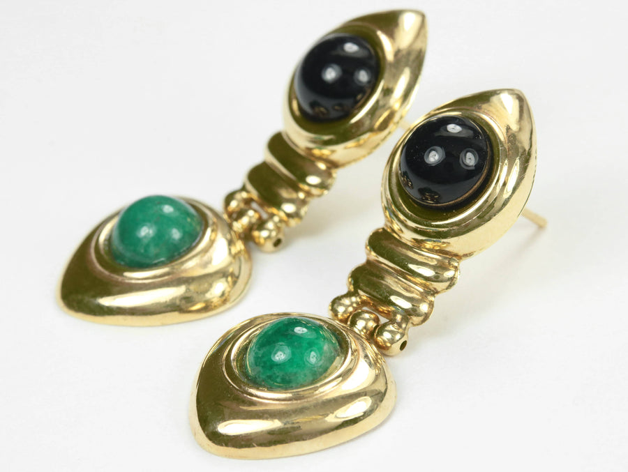 4.50tcw Black Onyx & Emerald Gold Dangle Earrings 14k, Emerald Black Onyx Jewerly, Emerald Black Onyx Earrings,May Birthstone,May Anniversar