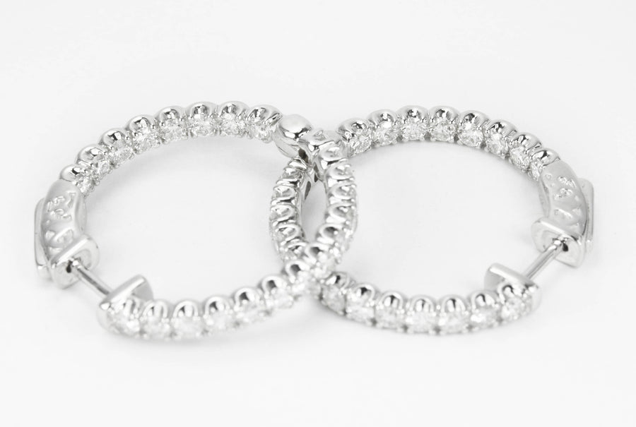 1.76tcw Diamond Inside Out Hoop Earrings 14K