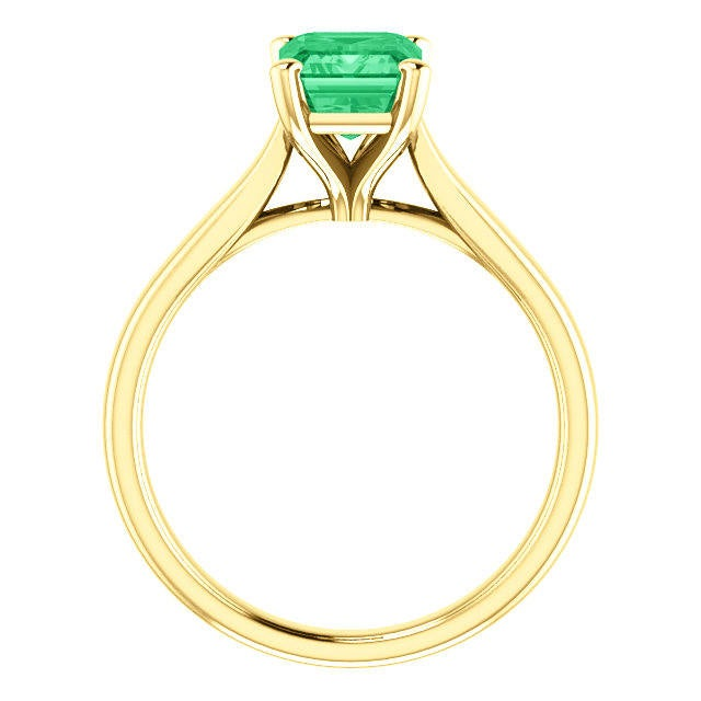 1.80 Carats Natural Emerald Engagement Ring, Emerald Cut Emerald Engagement Ring, Engagement Gift 14K, Genuine Emerald Ring Gold
