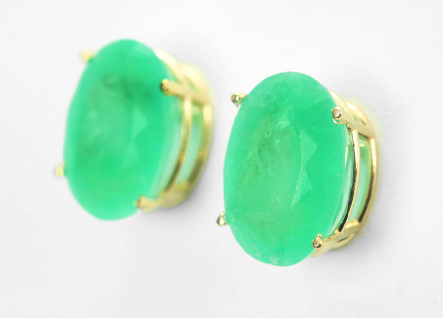 6.10 Carats Colombian Emerald & Gold Solitaire Stud Earrings, Big Emerald Oval Earrings, Emerald Stud Gold Earrings, Yellow Gold 14K