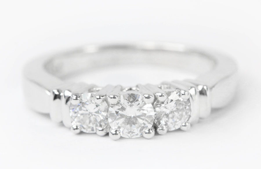 0.80tcw Three Stone Diamond Engagement/Promise Ring White Gold 14K