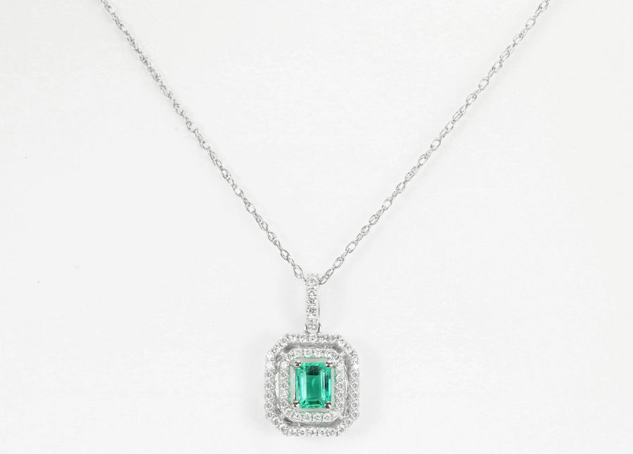 1.0tcw Colombian Emerald & Diamond Double Halo Necklace 14k