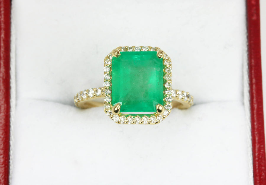 3.20tcw Emerald And Diamond Engagement Ring Halo Emerald Cut Ring 14K Yellow Gold, Natural Emerald Wedding Ring, Diamond And Emerald Ring