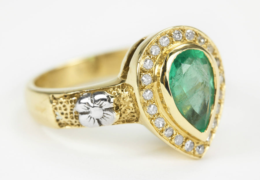 1.95tcw Pear Emerald & Diamond Halo Floral Ring 14K