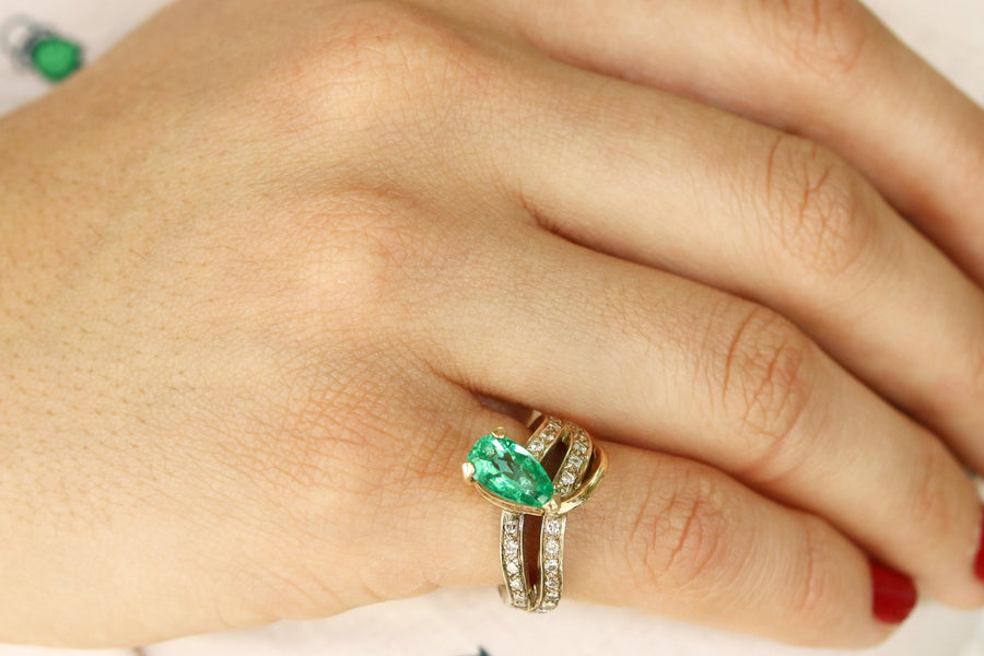 Colombian Emerald & Diamond Ring 2.40cts, Natural Emerald Gold Ring, Cluster Emerald Ring 14K, Pear Cut Emerald Ring, Emerald ring