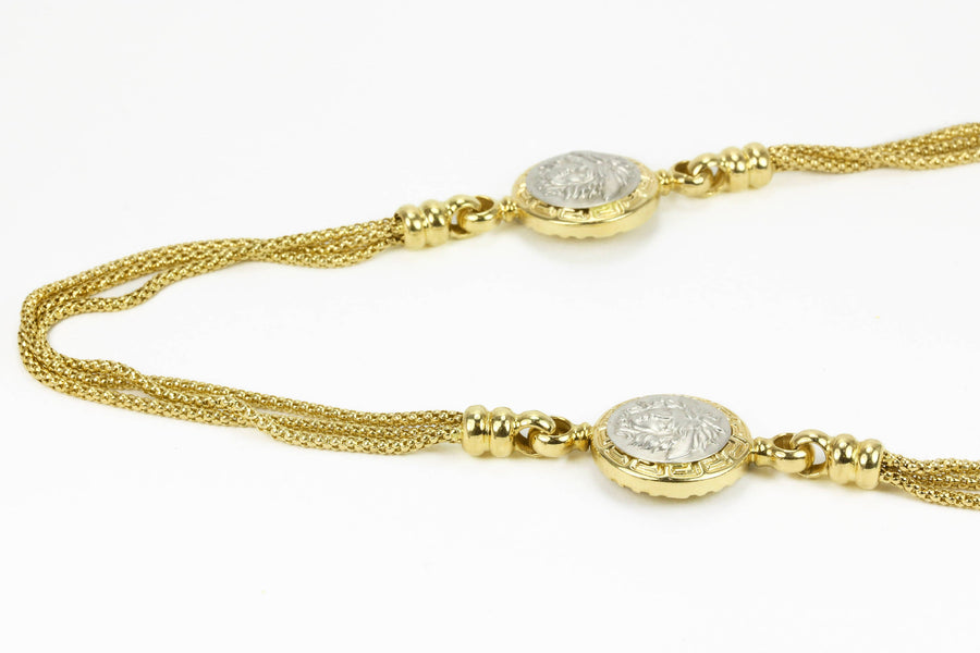 14K Versace Necklace, Yellow Gold Versace Necklace, Two-Toned Versace Adjustable Necklace, 14K Womens Versace Necklace
