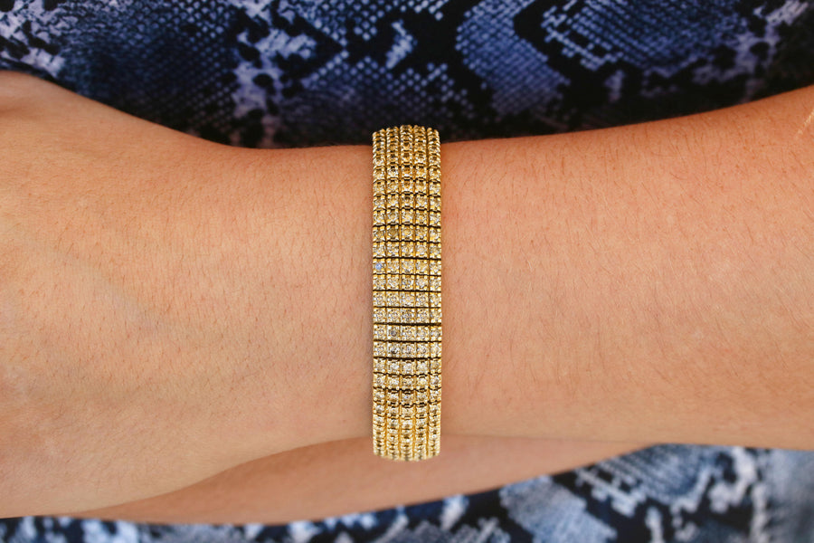 9.57tcw 44.8 Grams Heavy Unisex Diamond Yellow Gold Bracelet