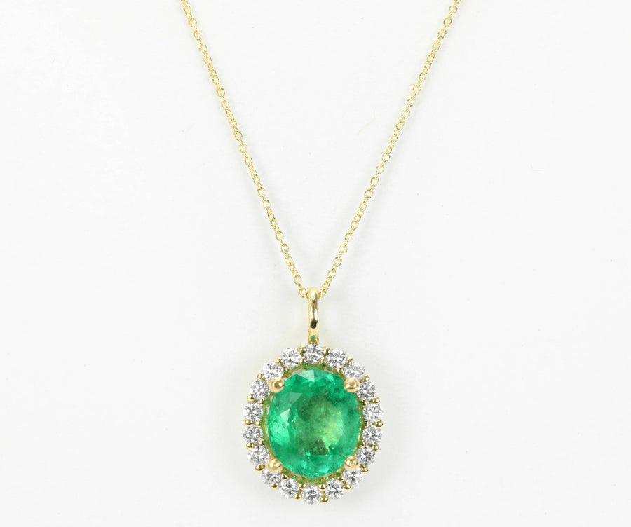 3.25tcw Emerald Oval & Diamond Halo Necklace Gold 14K