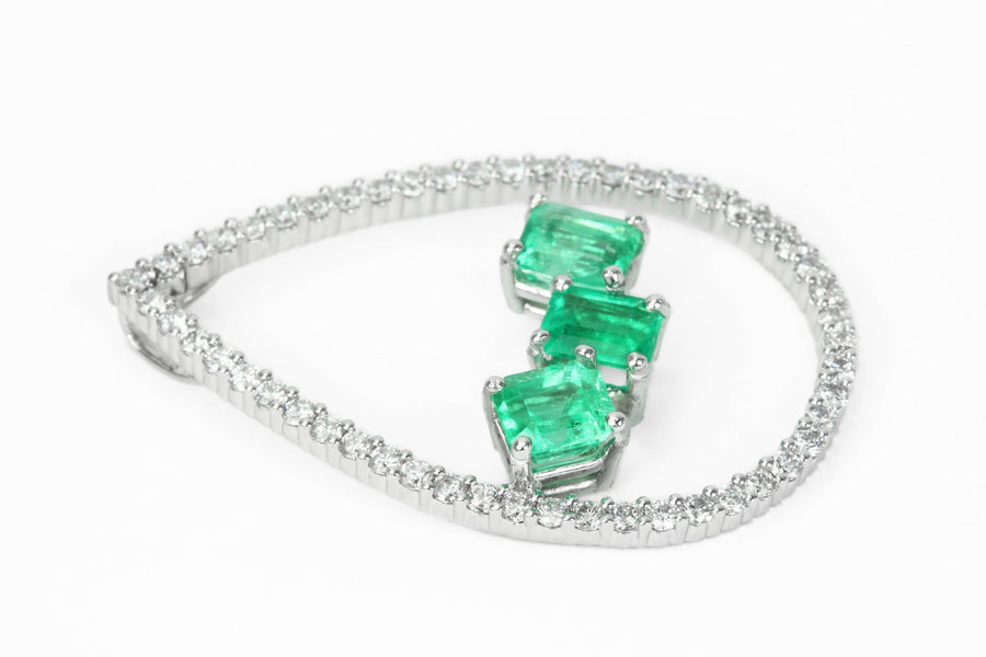 4.22tcw Floating Emeralds & Diamond Necklace White Gold 14K