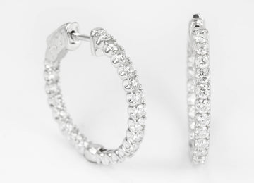 1.76tcw Stunning Diamond Inside Out Hoop Earrings, Diamond Inside Out Hoop Earrings, Diamond Hoops, Anniversary Gift, Natural Diamond Hoops