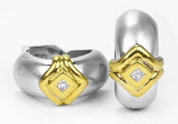 18K Classic Two Toned Omega Matte Huggie Earrings, Elegant Two Toned Diamond Huggie Earrings, Diamond Omega Huggie Earrings