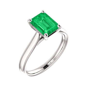 1.80 Carat Customized Natural Emerald Solitaire Engagement Ring 14K