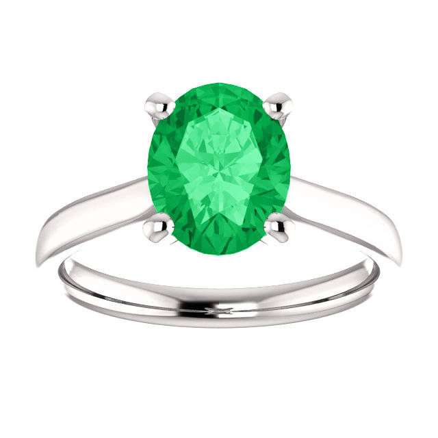 Brilliant Emerald Oval Cut Solitaire Engagement Ring In Gold 14K