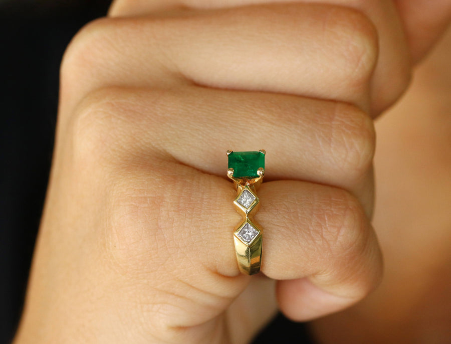 2.40tcw Colombian Emerald & Diamond Ring 14k, Architectural Ring, Geometric Ring, High Fashion Emerald Ring, Natural Emerald Ring, Gift
