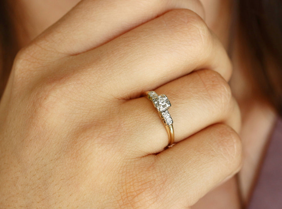 Petite Diamond Vintage Engagement Ring Two-Tone 14K