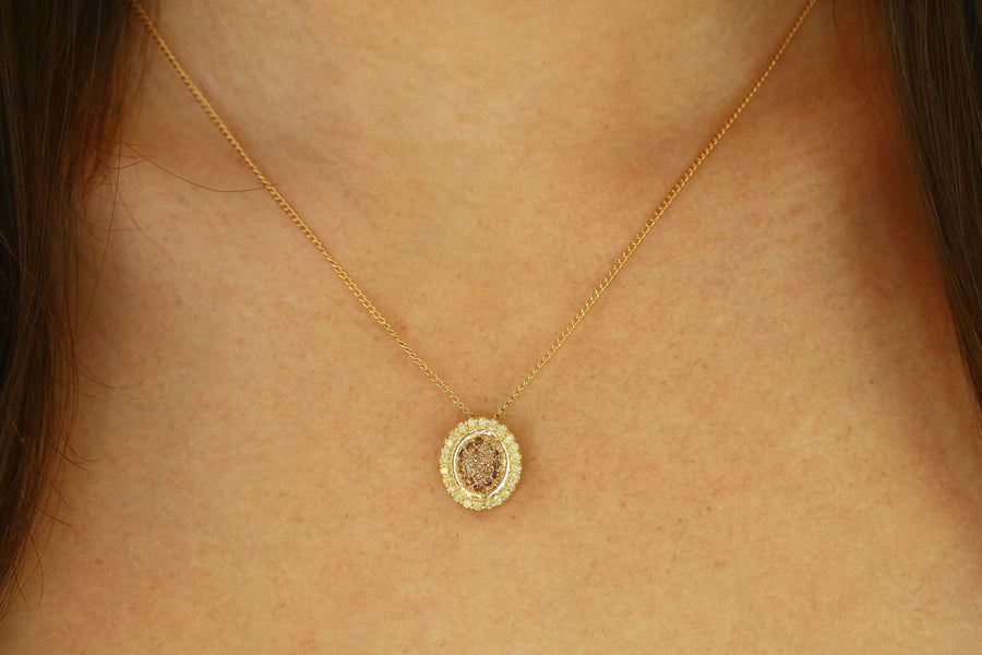0.68pts Fancy Yellow Diamond & Champagne Diamond Necklace