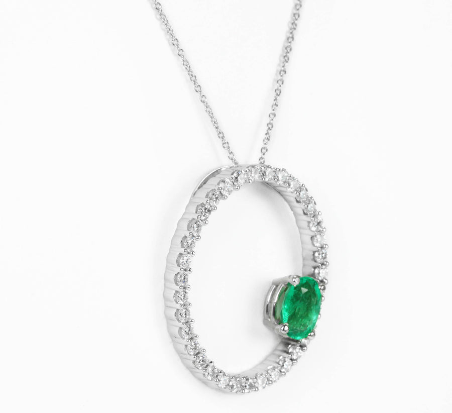 2.05tcw Oval Emerald Pendant, Eternity Emerald Necklace, May Birthstone Necklace, Solitaire Emerald Necklace, Floating Emerald, Oval Emerald