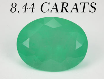 8.44 Carat Large Natural 15 x 11.5 MM Medium Bright Green Emerald Oval Cut, Colombian Emerald Oval shape loose May Gemstone