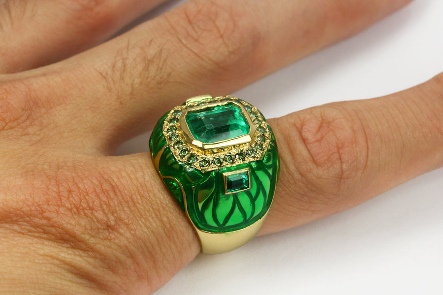 4.45tcw Colombian Emerald Diamond, Enamel & Gold Cocktail Ring, Emerald Ring, Emerald Men's Ring, Men's Emerald Ring, Green Beryl Mens Ring
