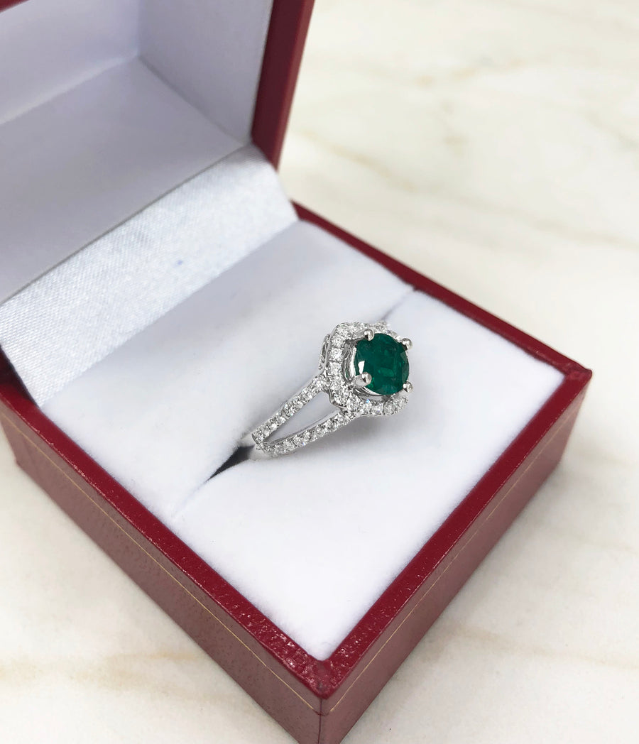 1.39tcw Split Shank Emerald & Diamond Halo Engagement Ring