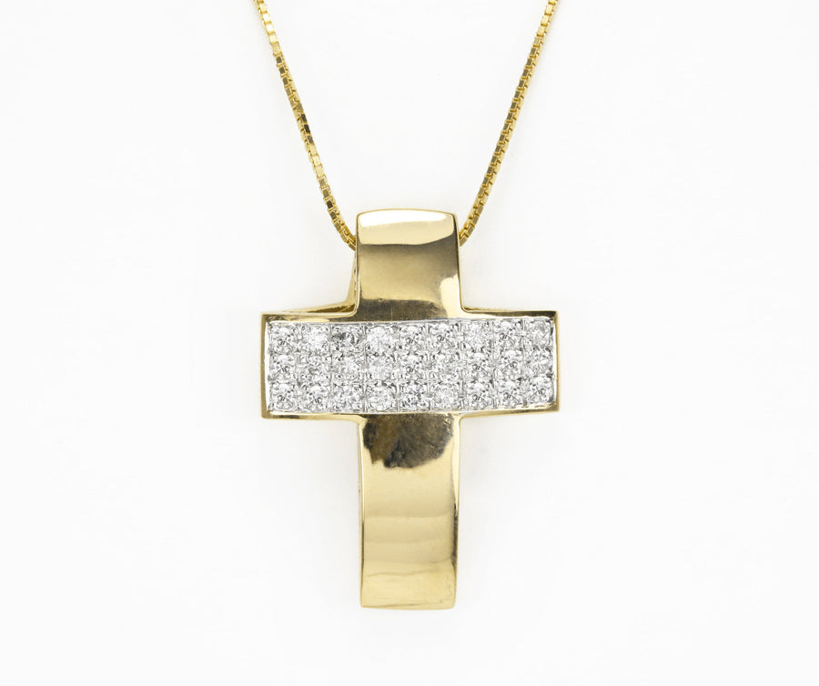 0.60cts Round Earth Mined Diamond Cross Pendant, White Diamond Cross Necklace in 14K Solid Yellow Gold, gift for mom, diamond cross necklace