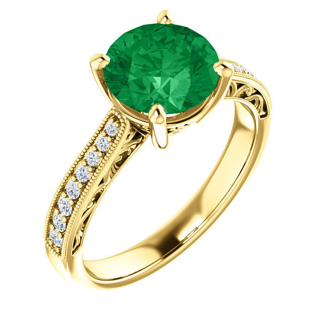 Natural Emerald Engagement Ring Yellow Gold Floral Diamond Wedding Band 8.0 mm Round Cut Rich Green Stone Natural Diamond 14k Bridal Ring