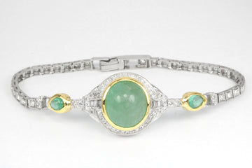 13.10tcw Art Deco Oval Cabochon Colombian Emerald & Diamond Bracelet Plat and 18K