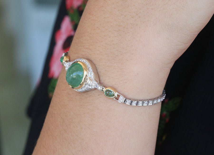 Second payment 13.10tcw Art Deco Oval Cabochon Colombian Emerald & Diamond Bracelet Plat and 18K