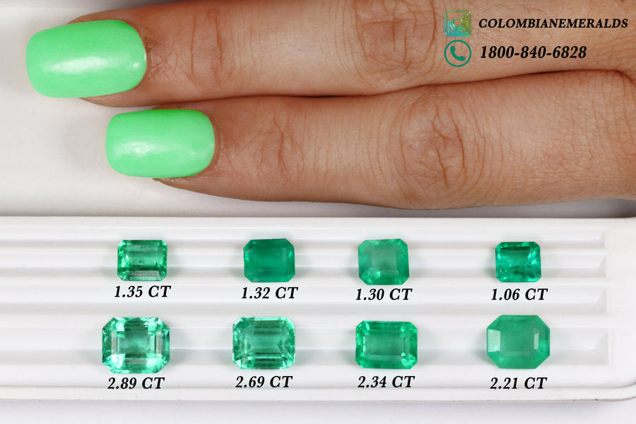 Emerald Cut Natural Colombian Emerald Engagement Ring 9x7MM