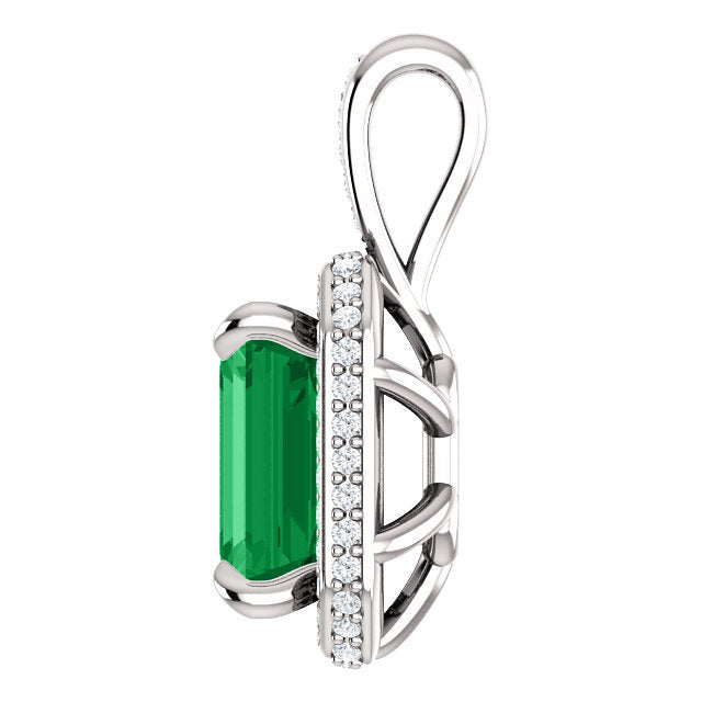 Custom Made Emerald Cut Emerald & Diamond Halo Pendant 14K