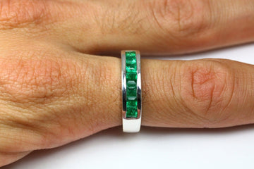 1.25tcw Princess Cut Deep Green Genuine Emerald & Gold Unisex Band Ring 14k, Men's Emerald Band Ring, Emerald Men's Ring
