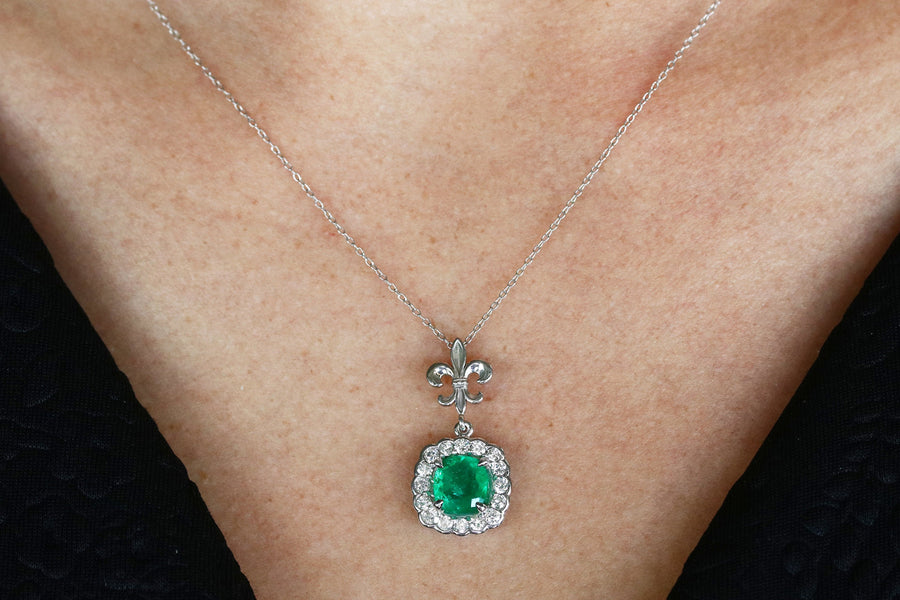2.15tcw Genuine Deep Green Emerald Cushion & Diamond Halo Pendant, Emerald Pendant, Emerald Diamond Halo Necklace, Emerald Necklace 18