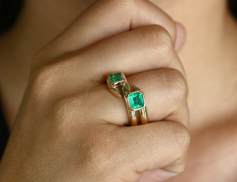 2.08tcw Double Bezel Set Natural Green Emerald, 2 Stone Square Cut Colombian Emerald Ring, Gold Coil Ring, Emerald Cuff Bypass Ring 14K
