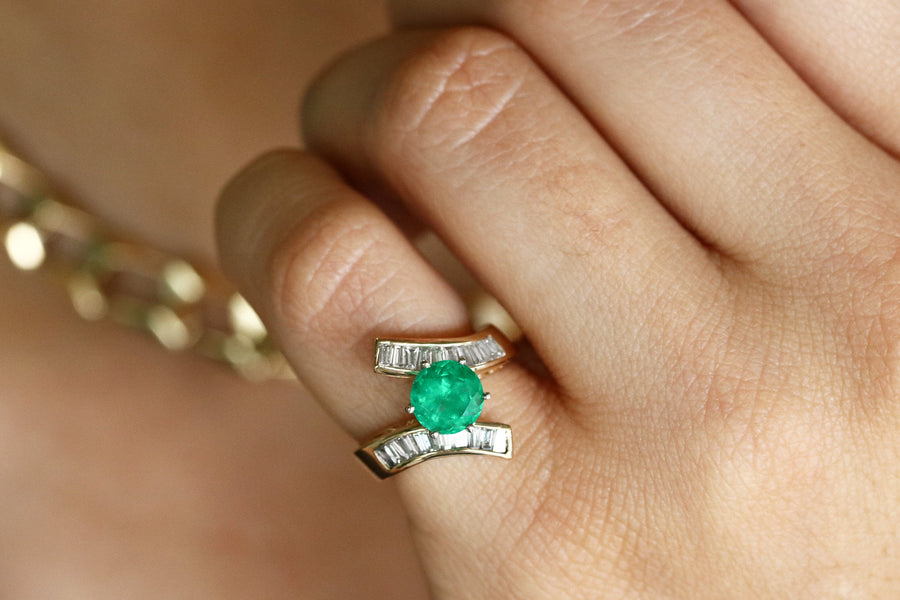 2.28tcw Round Colombian Emerald & Bypass Baguette Diamond Engagement Ring 14K, Baguette Diamond Cocktail Ring, Tapered Diamond Emerald Ring
