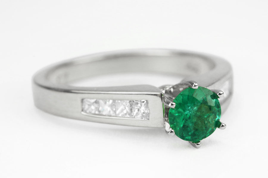 1.01tcw Dark Green Round Emerald Engagement Ring, Colombian Emerald Wedding Ring,May Stone Ring, Princess Cut Diamond Shank 18K