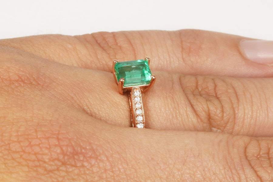 Natural Colombian Emerald Engagement Ring Set 14K Yellow Gold Emerald Ring May Birthstone Ring Emerald Cut Engagement Ring 9x7MM