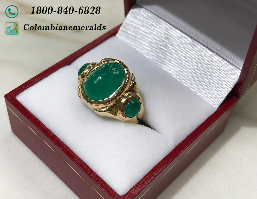 10.35tcw Natural Three Stone Columbian Emerald Mens Ring Yellow Gold 14K, Hand Made Mens Solitaire Green Emerald Ring,Men Emerald Pinky Ring