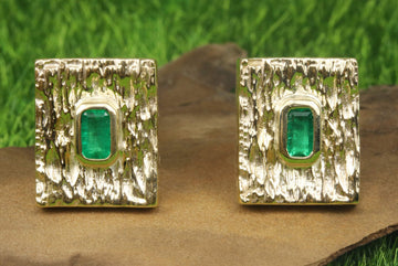 1.30tcw Rectangle cut Colombian Emerald & Gold Mens Cufflinks 14k, Natural Emerald Man Cuff Links, Gold Cuff link, Suit and Tie Cuff Links