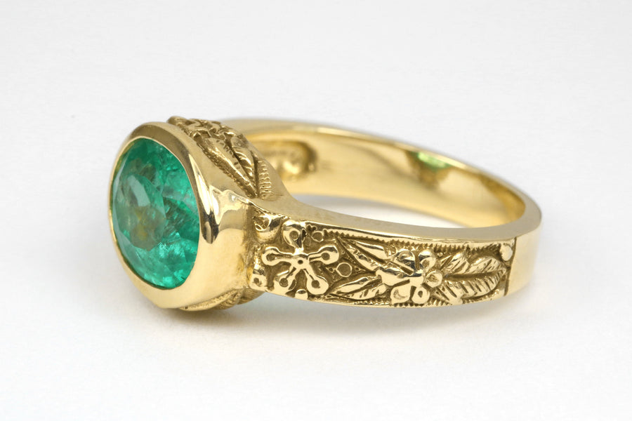 2.10 Carat Oval emerald Solitaire Gold Ring, Colombian Emerald & Gold Floral Solitaire Ring, Gold Emerald Floral Ring, May Anniversary Ring