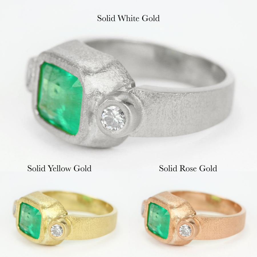 2.70tcw Halle Berry Ring Colombian emerald & diamonds 18K,Natural Emerald Gold Ring,Diamond And Emerald Cut Ring,Solitaire Emerald Ring,